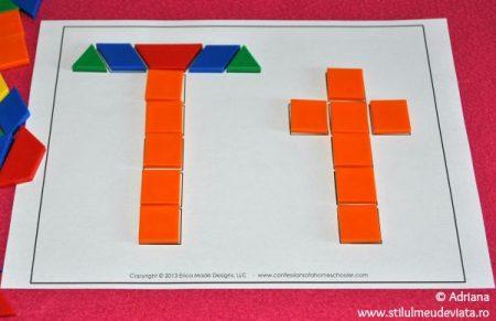 litera T din piese tangram