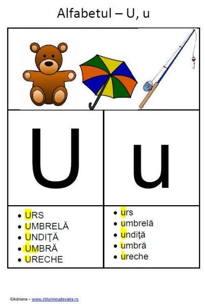 litera U - alfabetul ilustrat