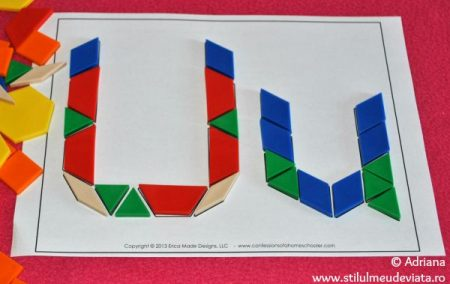 litera U din piese tangram