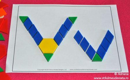 litera V din piese tangram