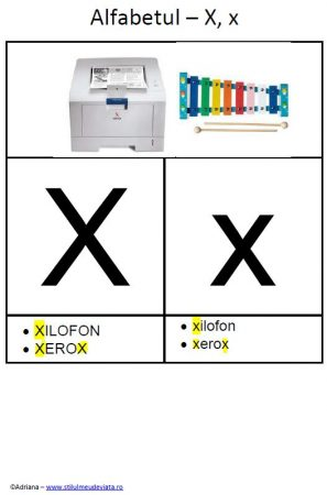 litera X - alfabetul ilustrat