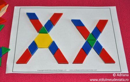 litera X din piese tangram