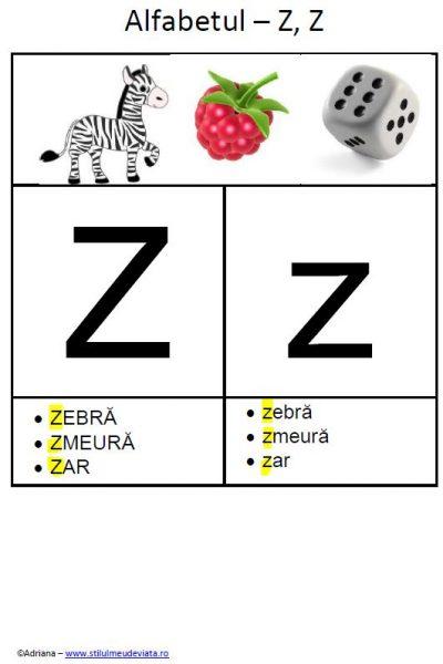 litera Z - alfabetul ilustrat