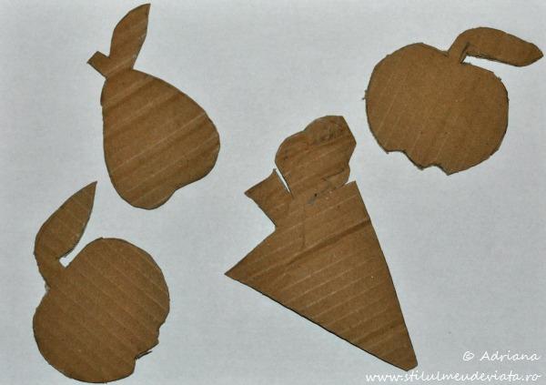 sabloane, fructe din carton reciclat
