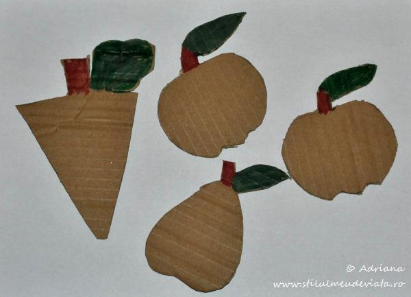 sabloane , fructe din carton reciclat