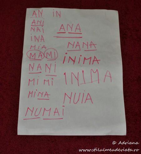 citim, literele A, M,U, N, I