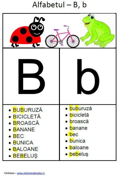 litera B - alfabetul ilustrat
