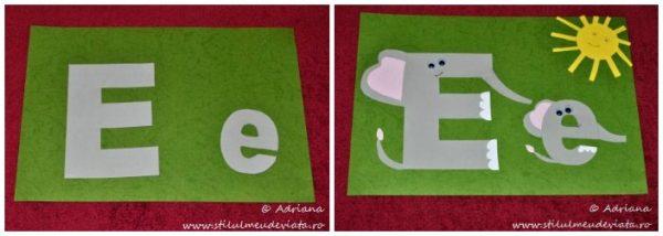 litera E de la ELEFANT,colaj