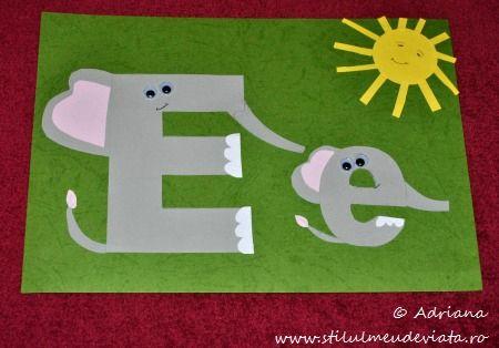 litera e, elefanti