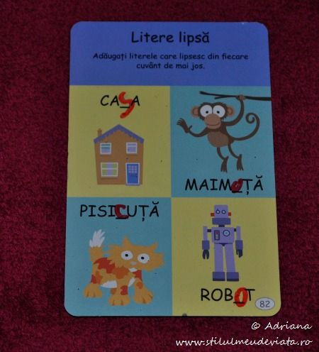 litere lipsa, cartonas educativ