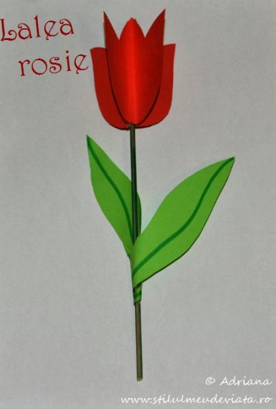 lalea rosie din hartie