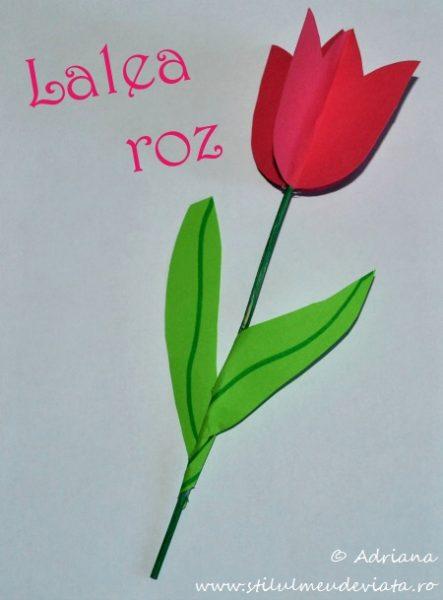 lalea roz din hartie