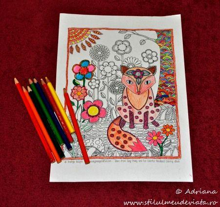 vulpea, fisa de colorat pentru adulti