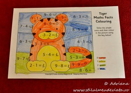 tigru, fisa de colorat cu calcule matematice