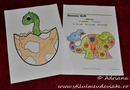 fise de colorat cu dinozauri