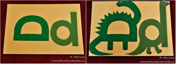 litera D de la dinozaur, colaj
