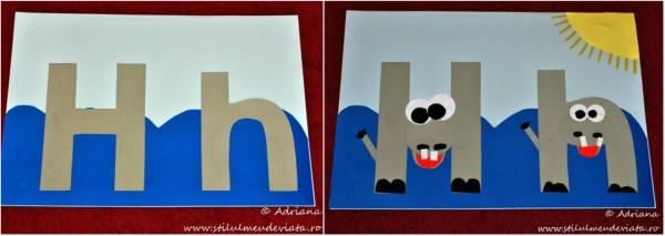 litera H de la HIPOPOTAM, colaj