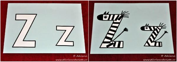 litera Z de la ZEBRĂ, colaj