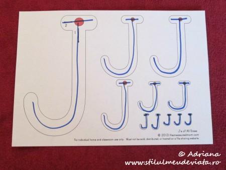 trasare litera J