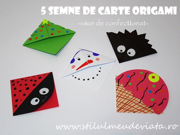 semne de carte origami usor de confectionat