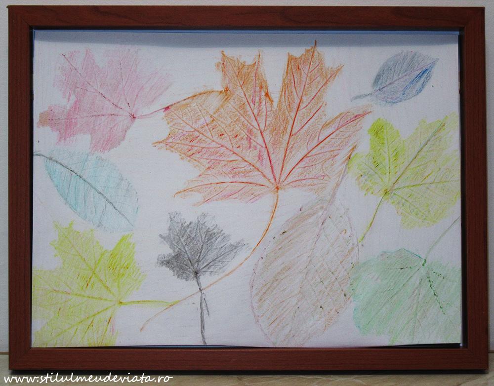 tablou cu frunze ruginii, tehnica hașurării
