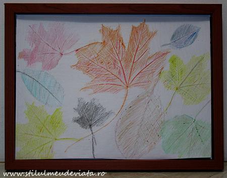 tablou cu frunze ruginii, tehnica hasurarii
