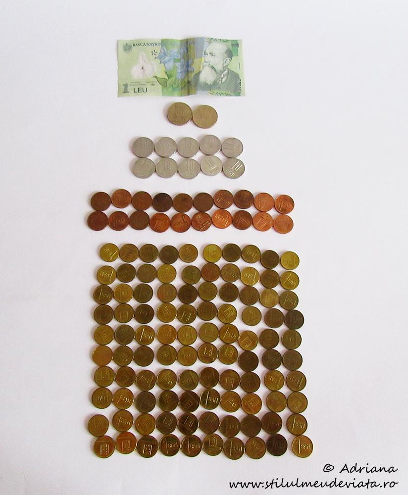 1 leu, bancnotă și monede