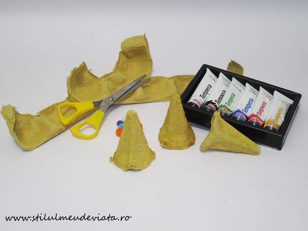 cofraj de ouă, materiale pentru activități practice