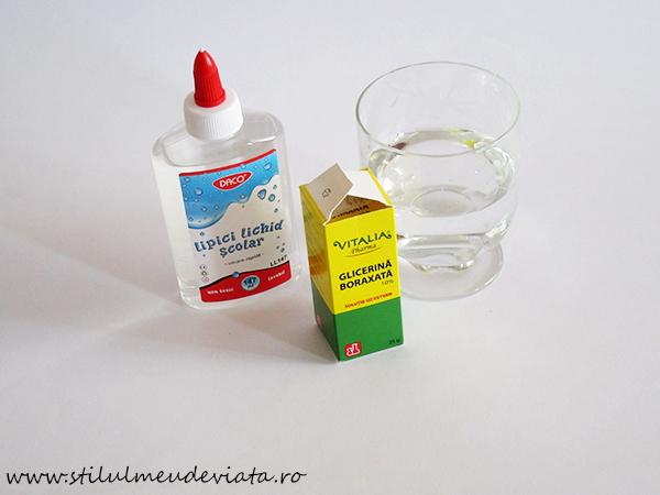 cea mai simplă rețetă de slime - ingrediente