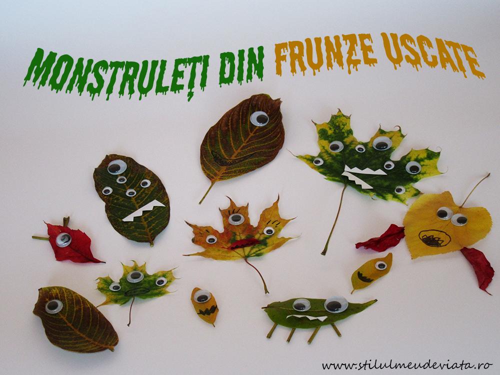 Monstruleți drăguți din frunze uscate