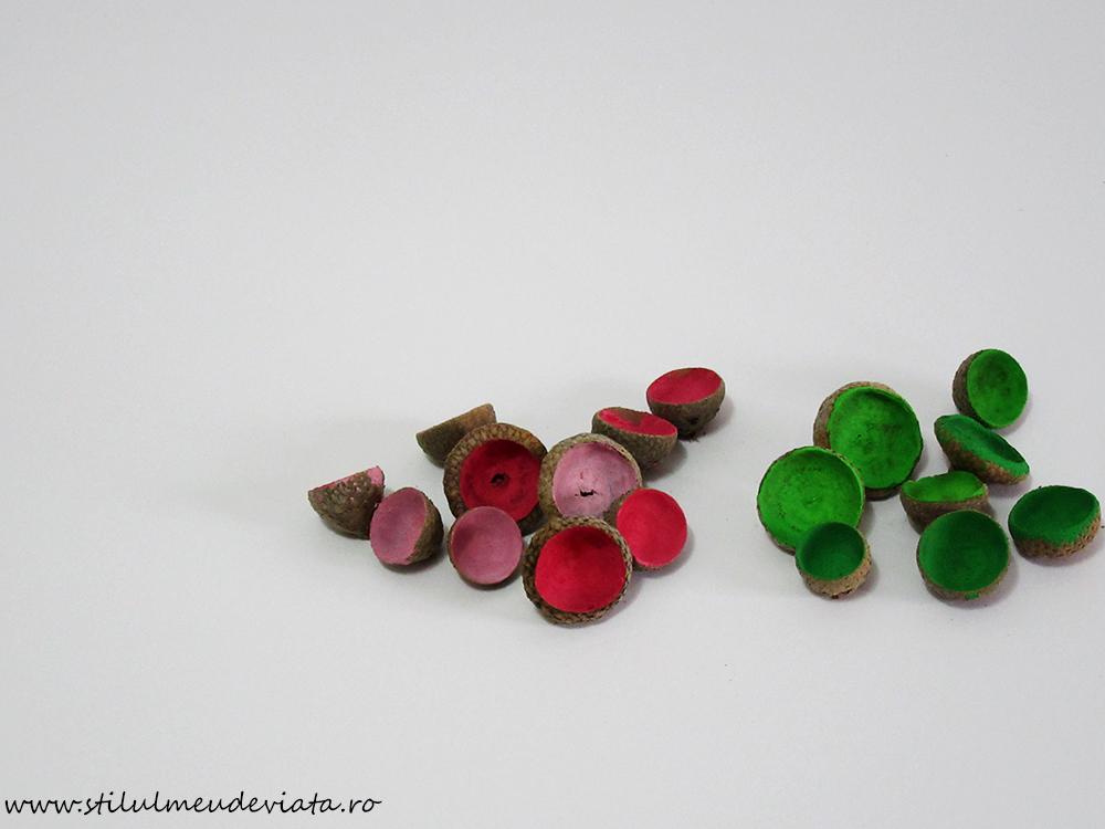 căpăcele de ghinde - vopsite în culorile primăverii
