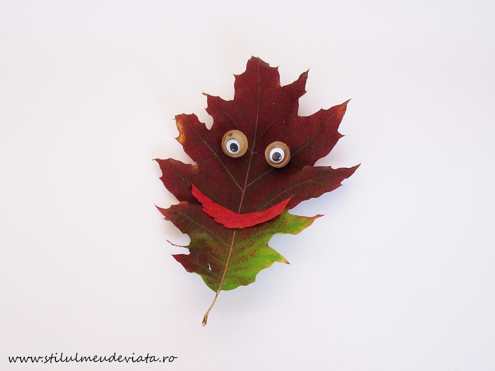 față zâmbăreață din frunză uscată