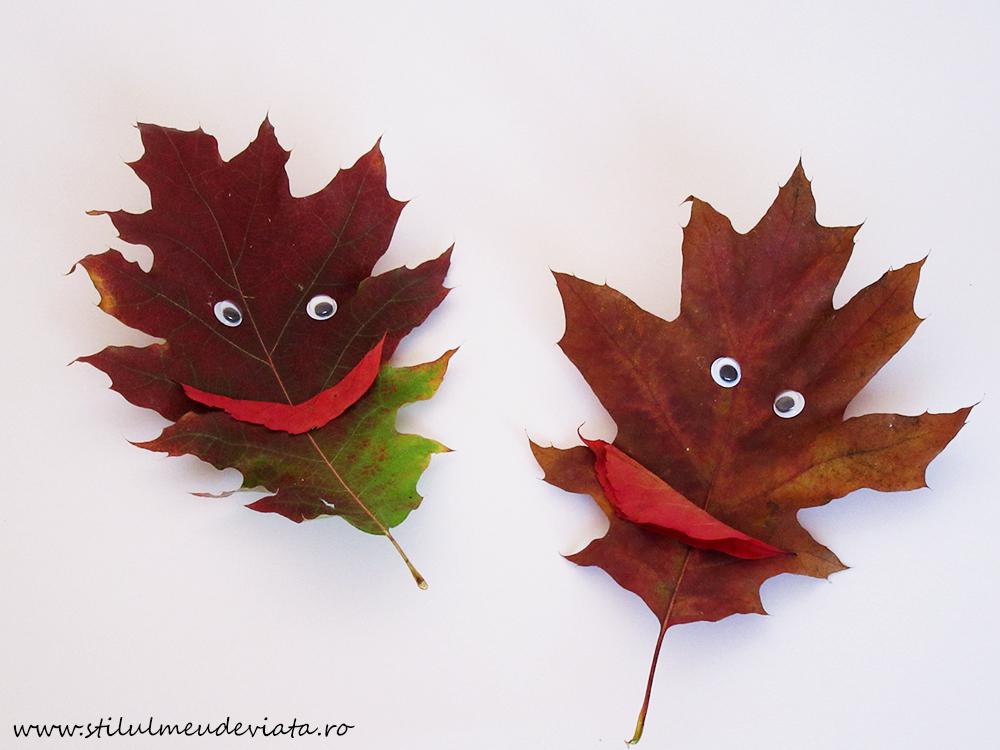 fețe zâmbărețe din frunze uscate