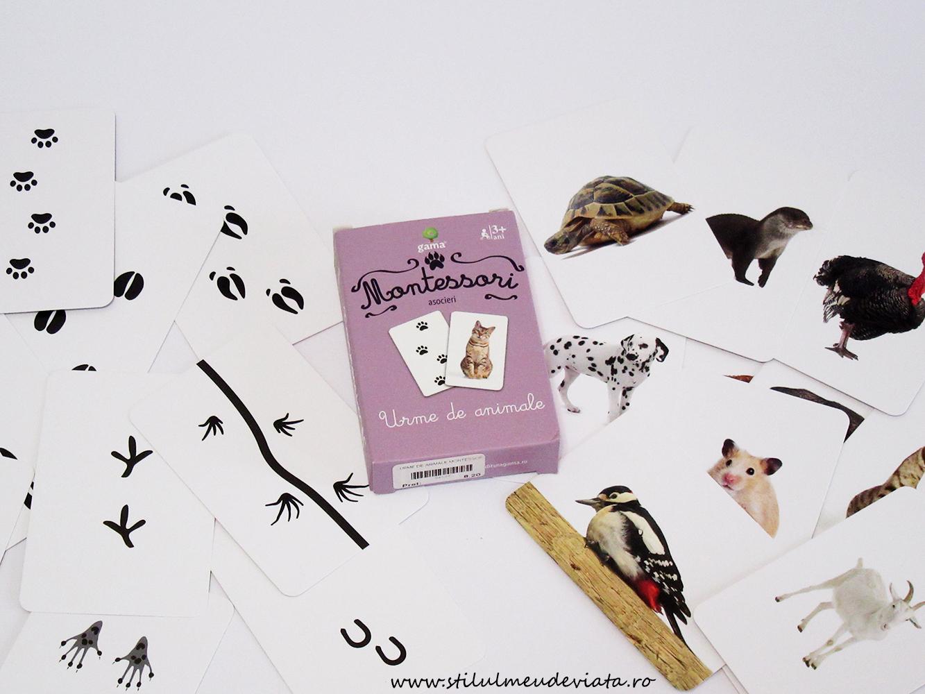 Urme de animale, cărți de joc Montessori