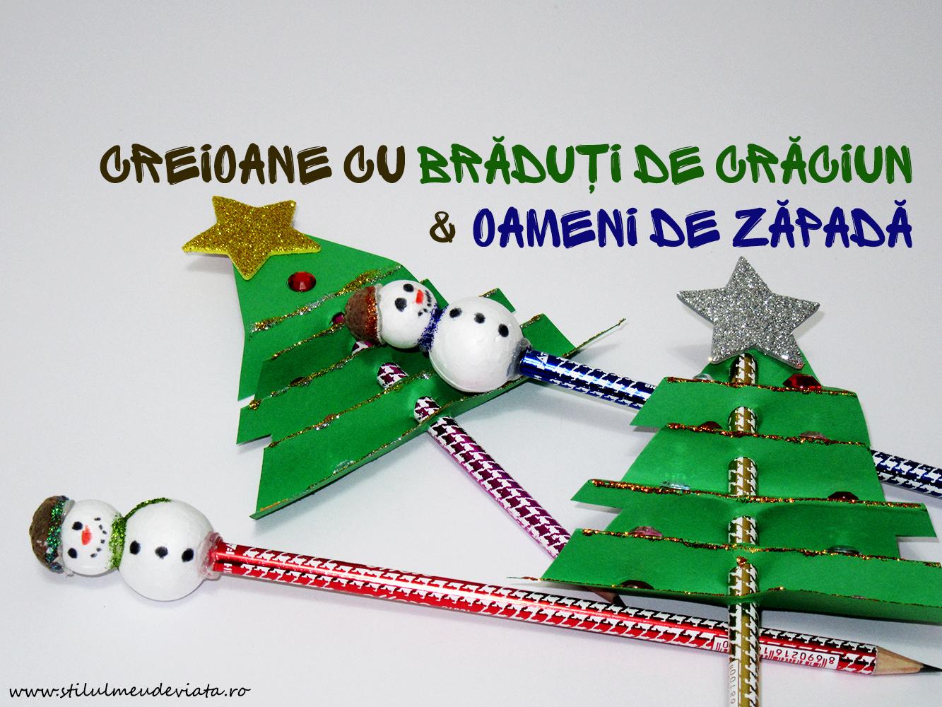 Creioane cu brăduți de Crăciun și oameni de zăpadă