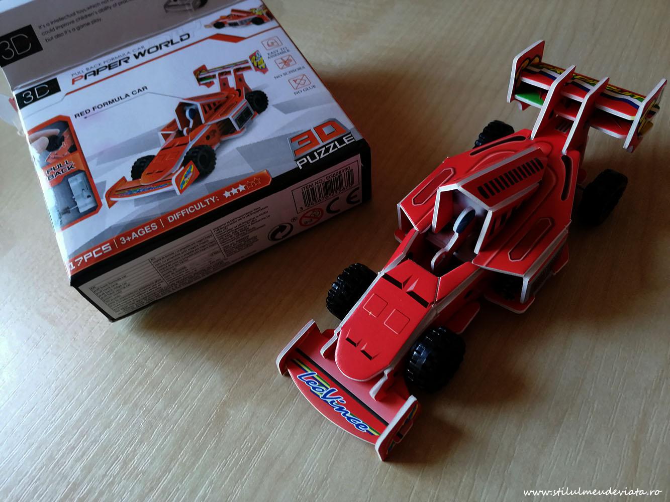 mașină de formula1, puzzle 3d din carton