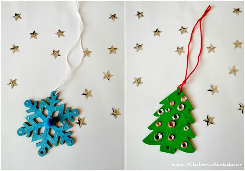 decorațiuni din lemn pentru bradul de Crăciun