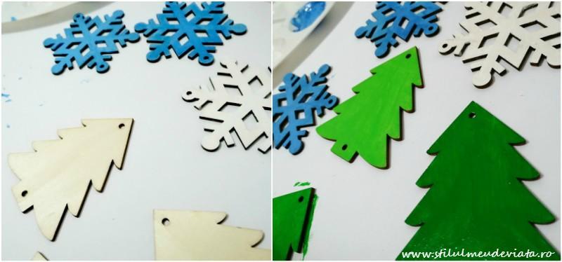 ornamente din lemn pentru bradul de Crăciun