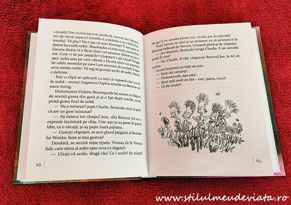 Charlie și fabrica de ciocolată, pagină din carte