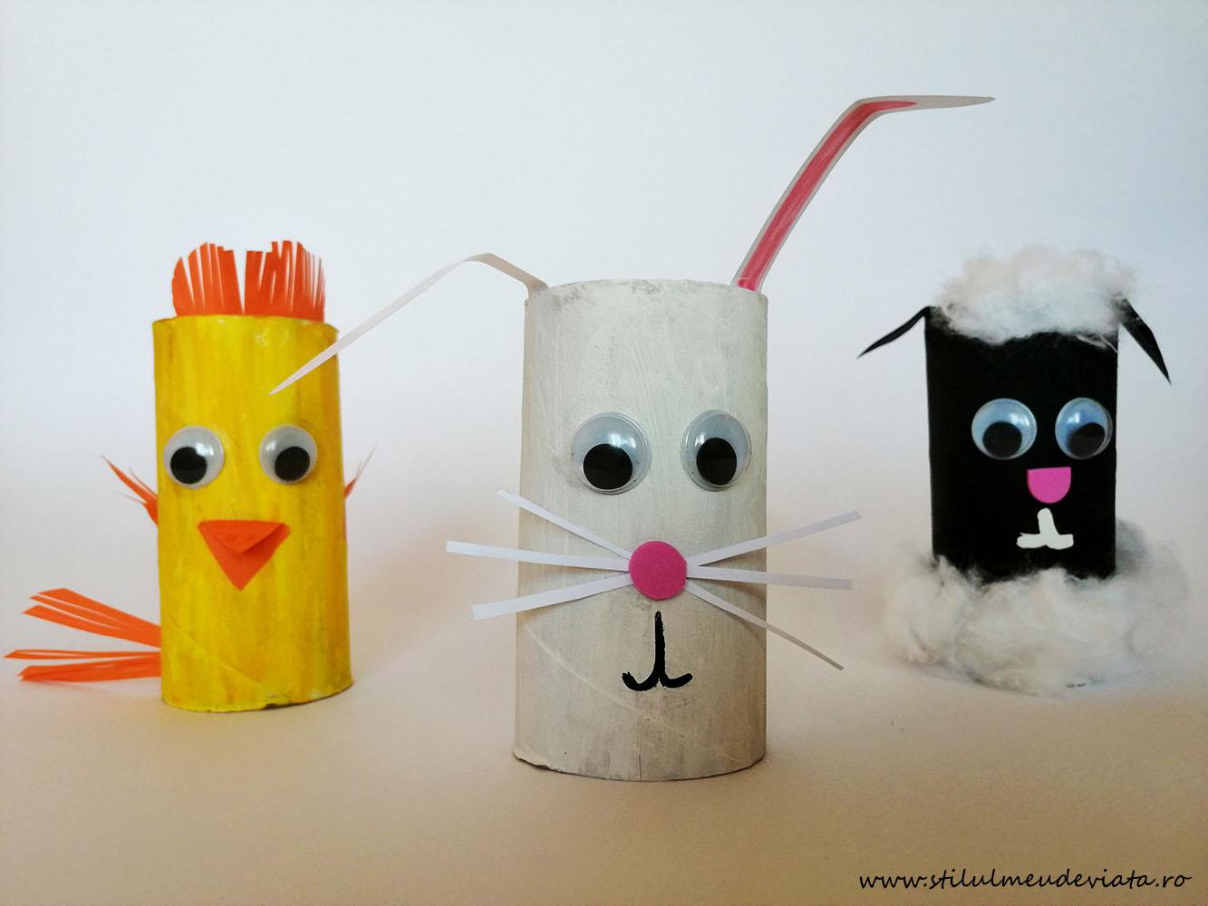 animăluțe din tuburi de carton (de la hârtie igienică)